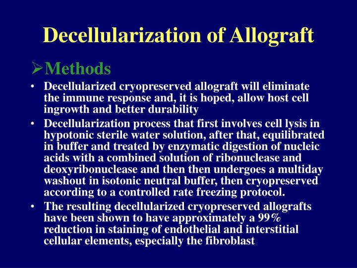 Decellularization of Allograft