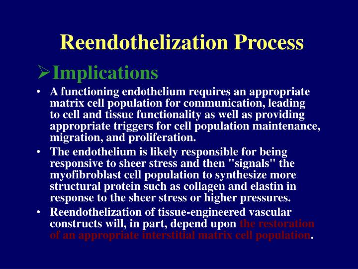 Reendothelization Process