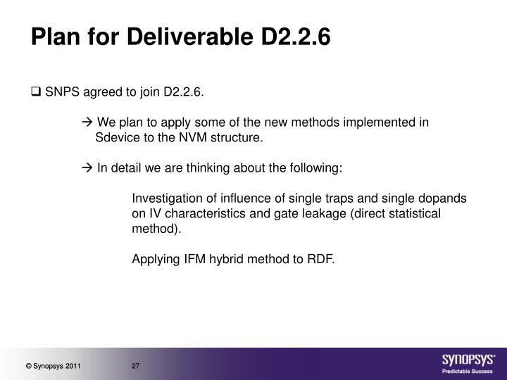 Plan for Deliverable D2.2.6