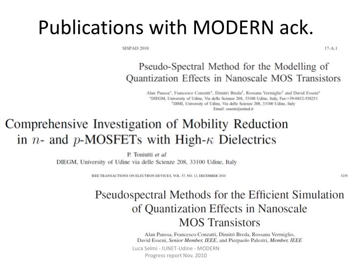 Publications with MODERN ack.