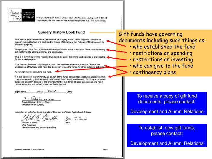 Gift funds have governing documents including such things as: