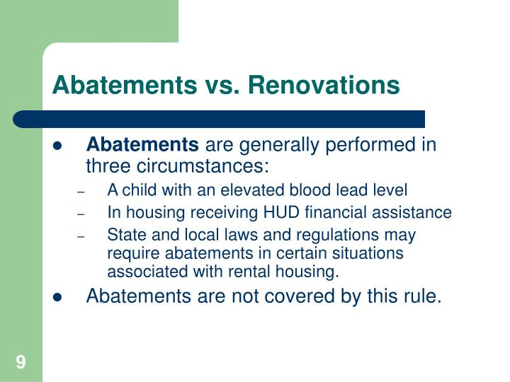 Abatements vs. Renovations