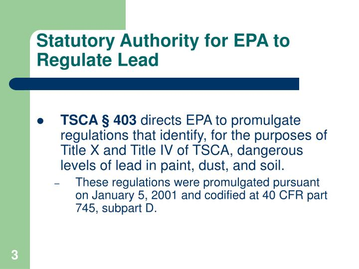 Statutory Authority for EPA to Regulate Lead