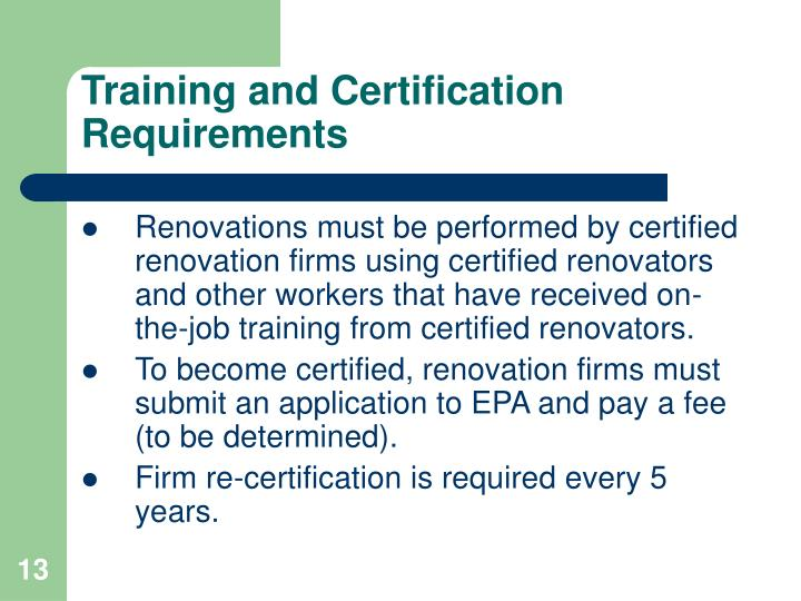 Training and Certification Requirements