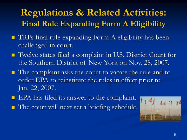 Regulations & Related Activities:
