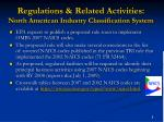regulations related activities north american industry classification system