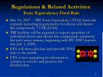 regulations related activities toxic equivalency final rule