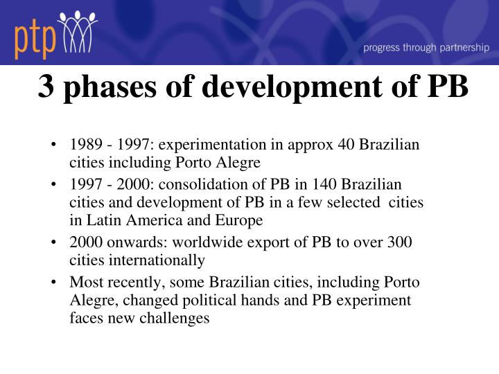 3 phases of development of PB