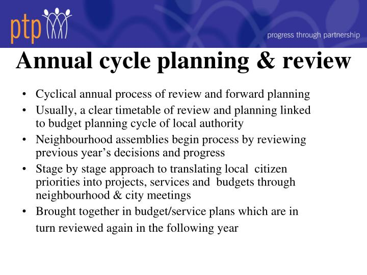 Annual cycle planning & review