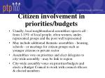 citizen involvement in priorities budgets