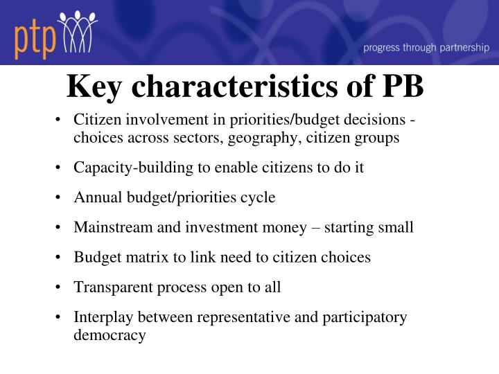 Key characteristics of PB