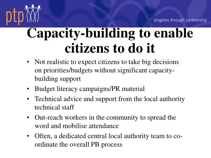 Capacity-building to enable citizens to do it