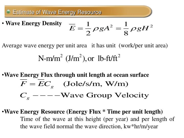 Estimate of Wave Energy Resource