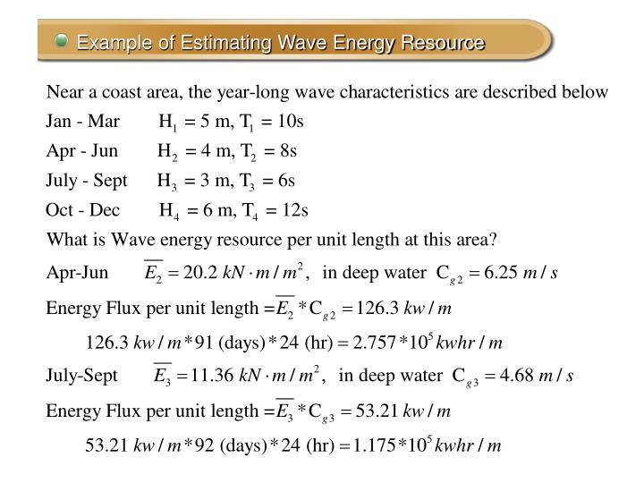 Example of Estimating Wave Energy Resource