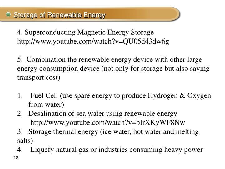 Storage of Renewable Energy