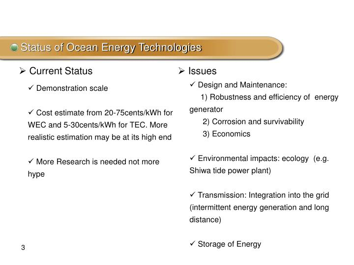 Status of Ocean Energy Technologies