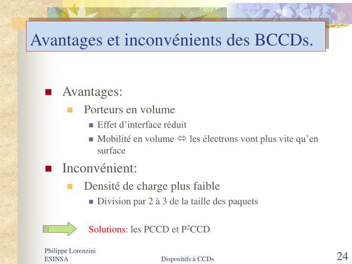 Avantages et inconvénients des BCCDs.
