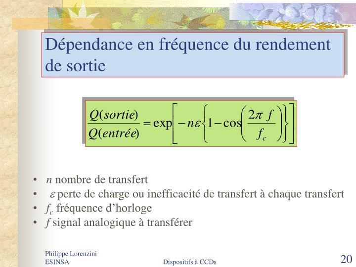 Dépendance en fréquence du rendement de sortie