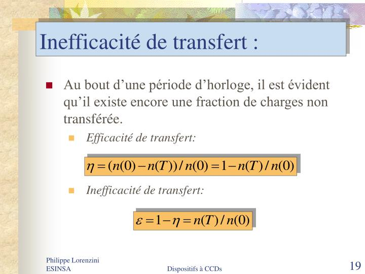 Inefficacité de transfert :
