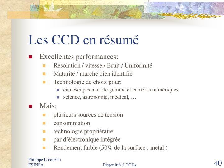Les CCD en résumé