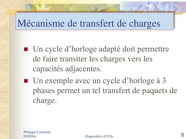 Mécanisme de transfert de charges