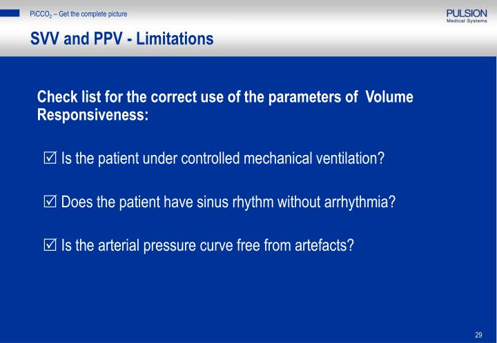 SVV and PPV - Limitations