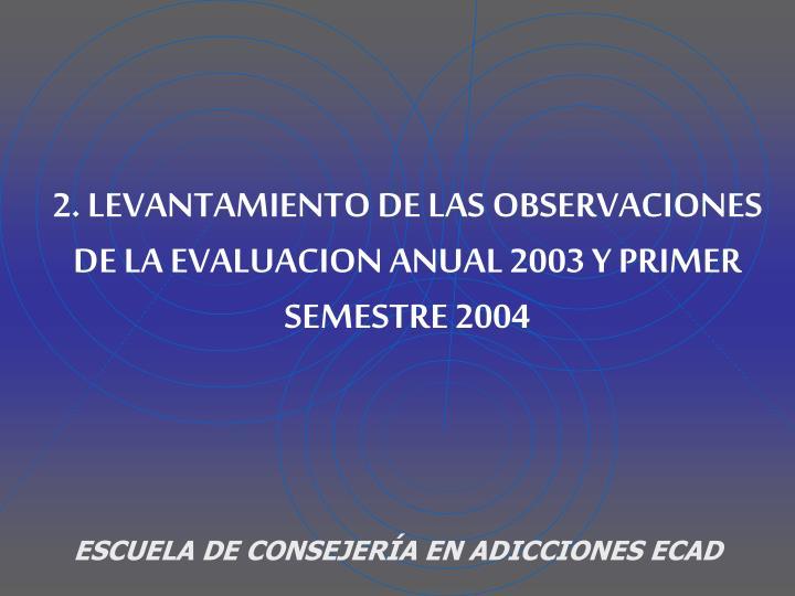 2. LEVANTAMIENTO DE LAS OBSERVACIONES DE LA EVALUACION ANUAL 2003 Y PRIMER SEMESTRE 2004