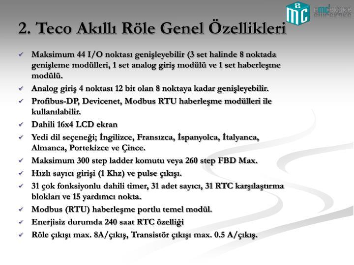 2. Teco Akıllı Röle Genel Özellikleri