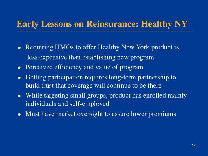 Early Lessons on Reinsurance: Healthy NY