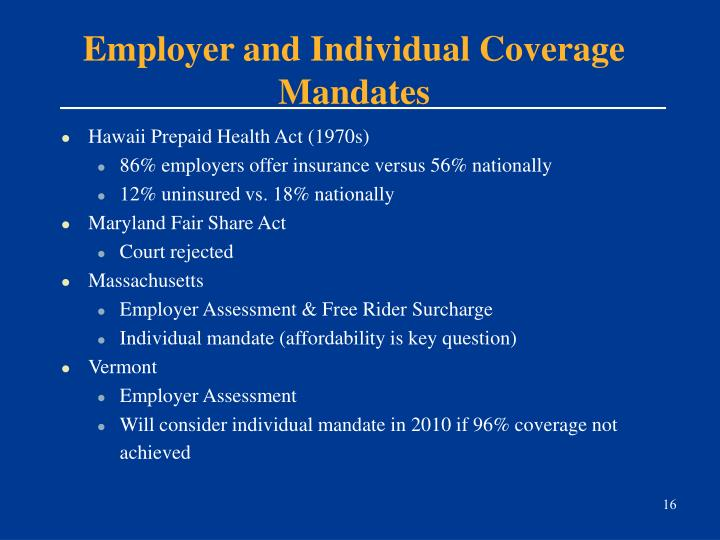 Employer and Individual Coverage Mandates