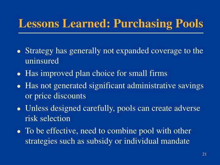 Lessons Learned: Purchasing Pools