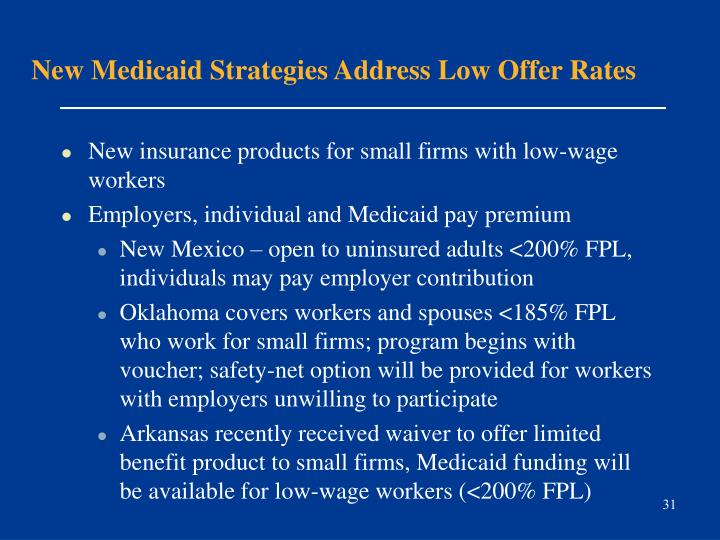New Medicaid Strategies Address Low Offer Rates