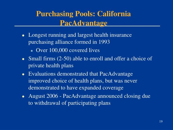 Purchasing Pools: California PacAdvantage