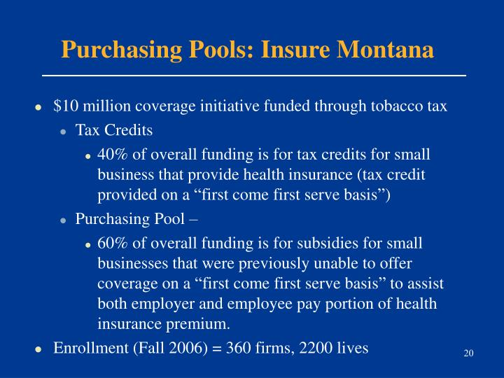 Purchasing Pools: Insure Montana