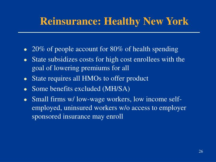 Reinsurance: Healthy New York