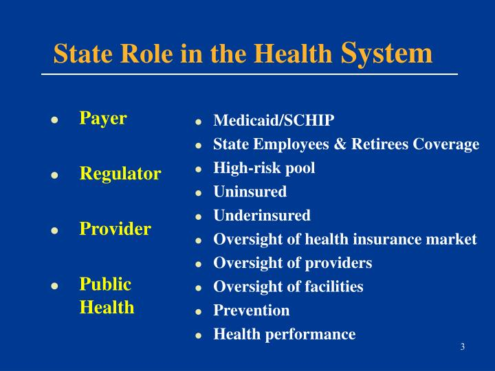 State role in the health system