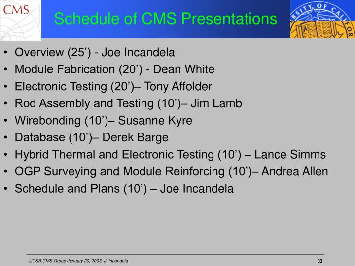 Schedule of CMS Presentations