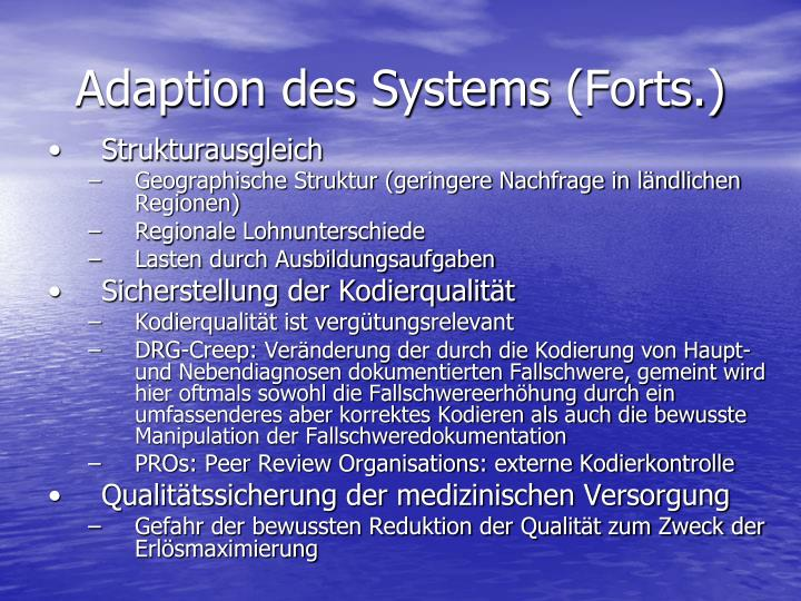 Adaption des Systems