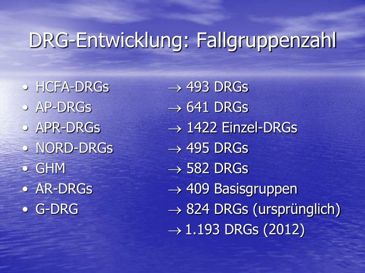 DRG-Entwicklung: Fallgruppenzahl