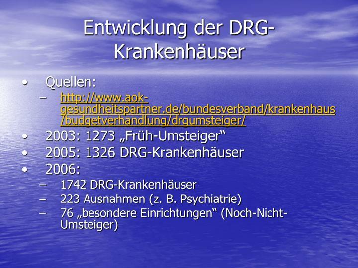 Entwicklung der DRG-Krankenhäuser