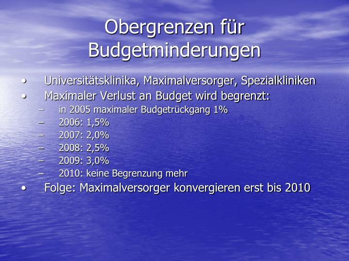 Obergrenzen für Budgetminderungen