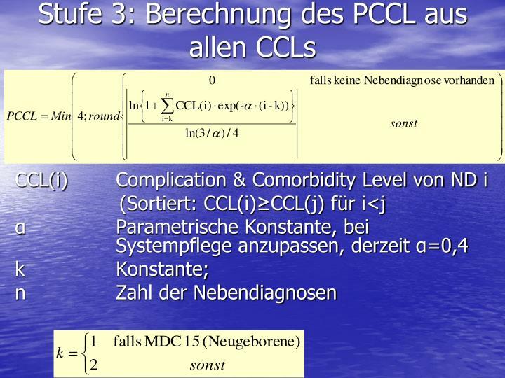 Stufe 3: Berechnung des PCCL aus allen CCLs
