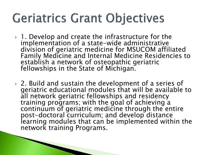 Geriatrics Grant Objectives