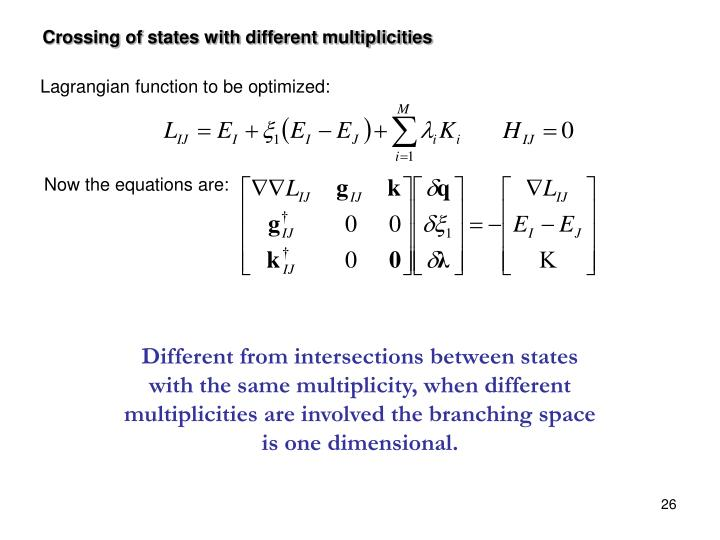 Crossing of states with different multiplicities