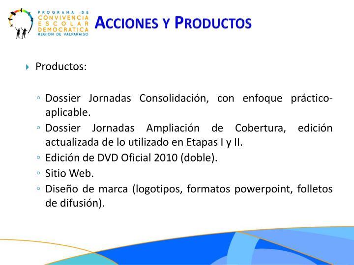 Acciones y Productos