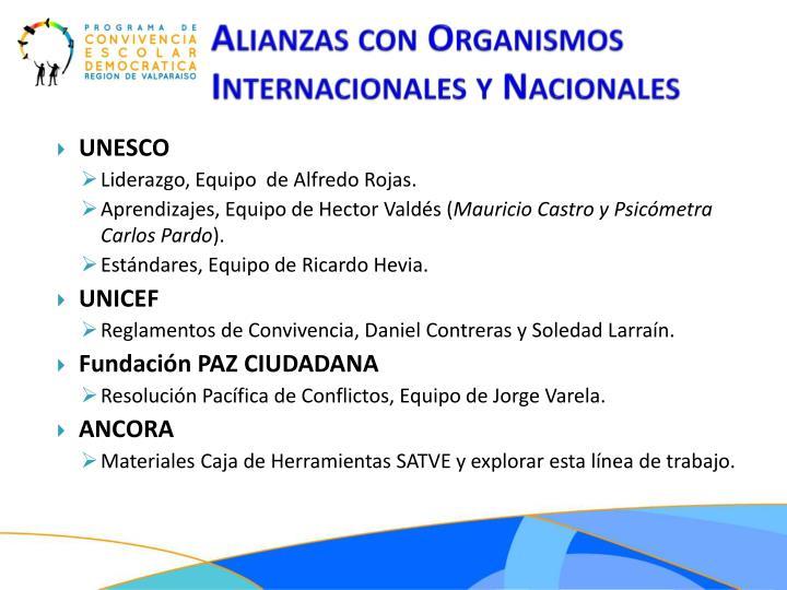 Alianzas con Organismos Internacionales y Nacionales