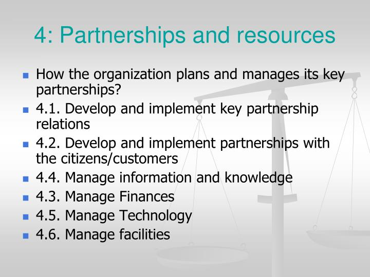 4: Partnerships and resources