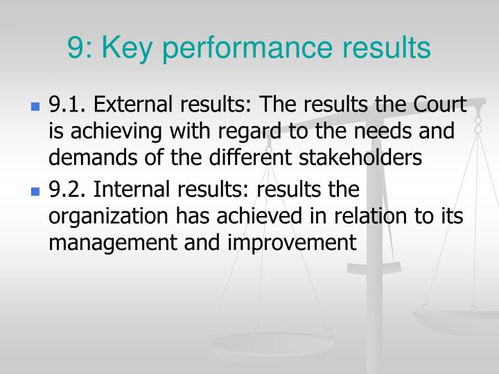9: Key performance results