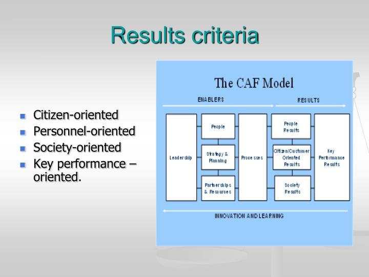 Results criteria