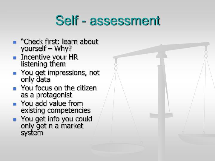 Self - assessment
